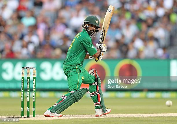 Mohammad Hafeez of Pakistan bats during game two of the One Day International series between Australia and Pakistan at Melbourne Cricket Ground on...
