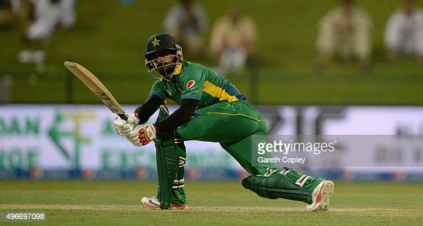 Mohammad Hafeez of Pakistan bats during the 1st One Day International between Pakistan and England at Zayed Cricket Stadium on November 11 2015 in...