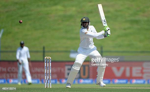 Mohammad Hafeez of Pakistan bats during the 1st Test between Pakistan and England at Zayed Cricket Stadium on October 13 2015 in Abu Dhabi United...