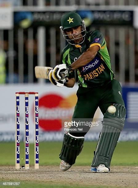 Mohammad Hafeez of Pakistan bats during the first OneDay International match between Sri Lanka and Pakistan at the Sharjah Cricket Stadium on...