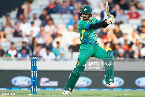 Mohammad Hafeez of Pakistan bats during the first T20 match at Eden Park on January 15 2016 in Auckland New Zealand