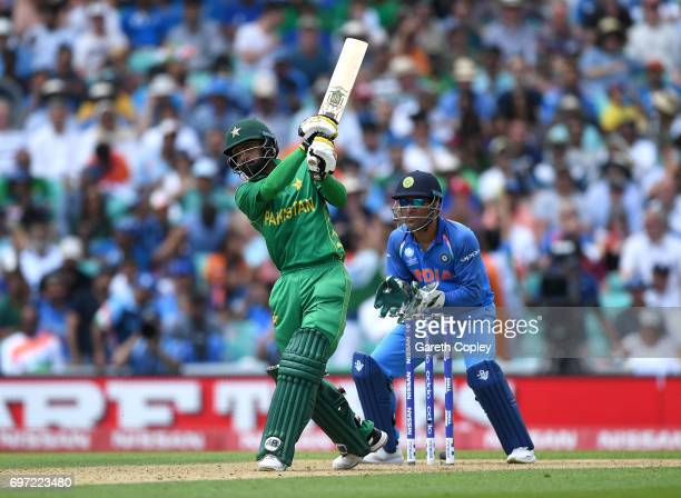 Mohammad Hafeez of Pakistan bats during the ICC Champions Trophy Final between India and Pakistan at The Kia Oval on June 18 2017 in London England