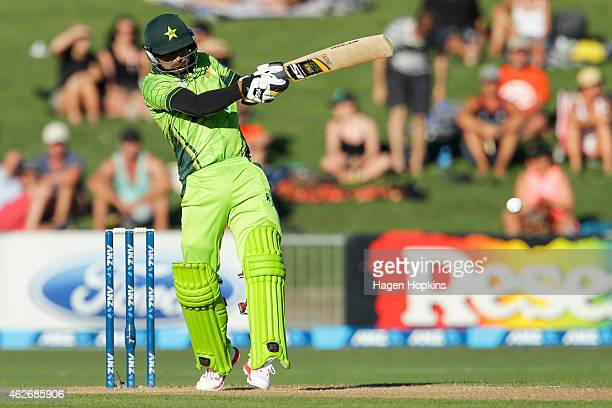 Mohammad Hafeez of Pakistan bats during the One Day International match between New Zealand and Pakistan at McLean Park on February 3 2015 in Napier...