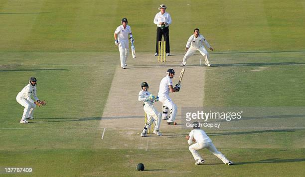 Mohammad Hafeez of Pakistan catches out Kevin Pietersen of England from the bowling of Saeed Ajmal during the second Test match between Pakistan and...