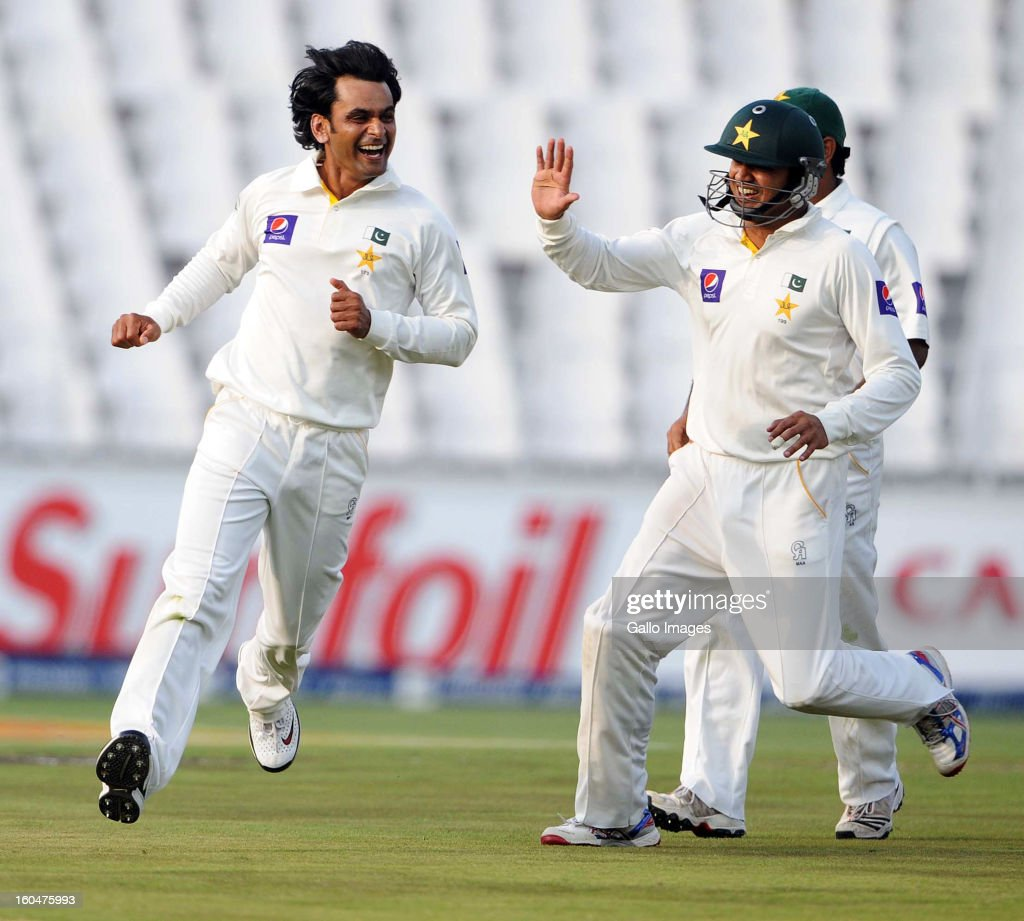 Mohammad Hafeez of Pakistan celebrates the wicket of Robin Peterson of South Africa during day 1 of the first Test match between South Africa and Pakistan at Bidvest Wanderers Stadium on February 01, 2013 in Johannesburg, South Africa.