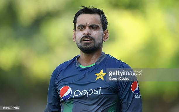 Mohammad Hafeez of Pakistan during a nets session at the ICC Cricket Academy on October 20 2015 in Dubai United Arab Emirates