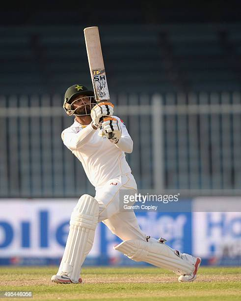 Mohammad Hafeez of Pakistan hits James Anderson of England for six runs during day three of the 3rd Test between Pakistan and England at Sharjah...