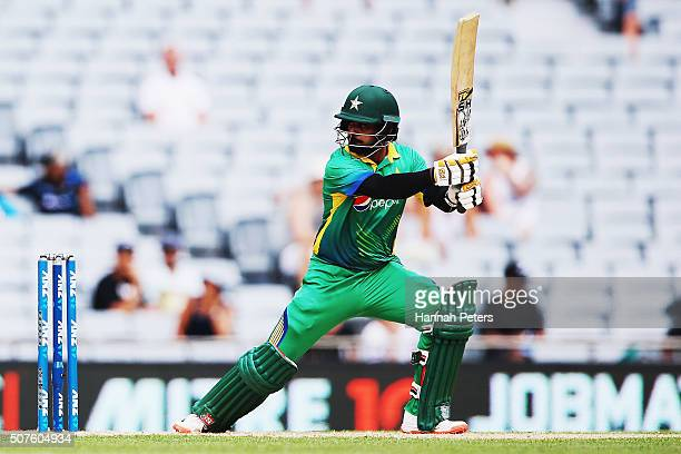 Mohammad Hafeez of Pakistan plays the ball away for four runsl during the One Day International match between New Zealand and Pakistan at Eden Park...