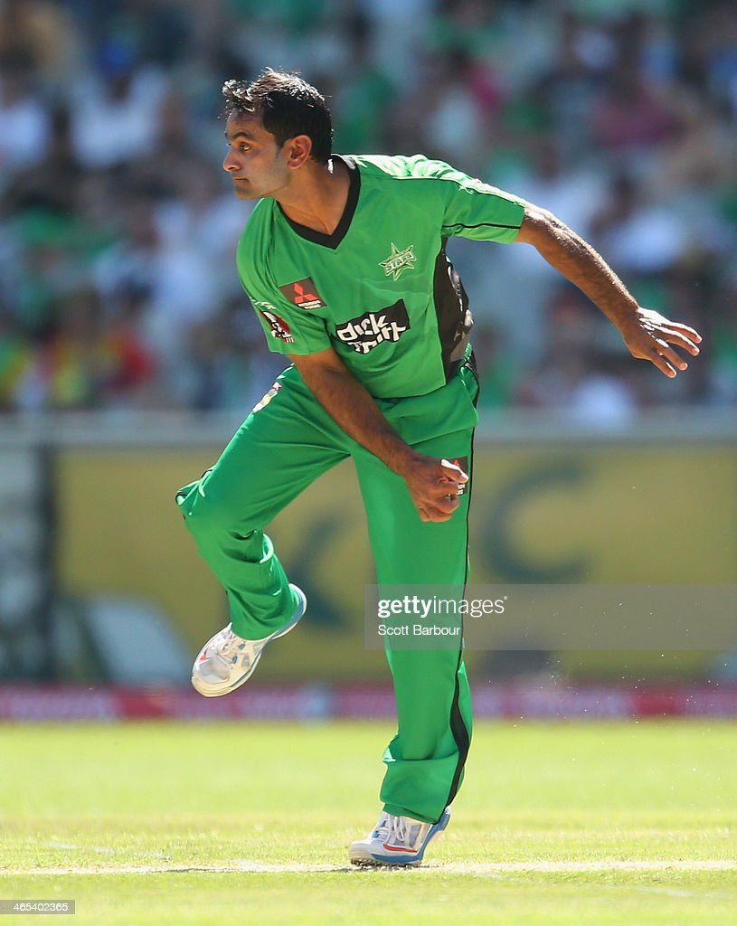 Mohammad Hafeez of the Stars bowls during the Big Bash League match between the Melbourne Stars and the Perth Scorchers at Melbourne Cricket Ground on January 27, 2014 in Melbourne, Australia.