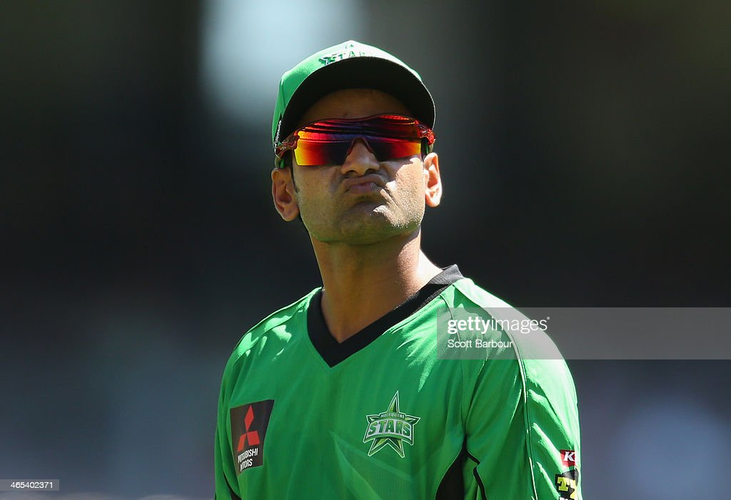 Mohammad Hafeez of the Stars looks on during the Big Bash League match between the Melbourne Stars and the Perth Scorchers at Melbourne Cricket Ground on January 27, 2014 in Melbourne, Australia.