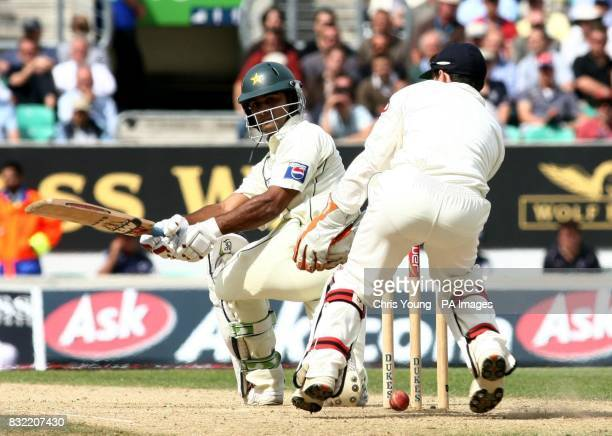Mohammad Hafeez tries a reverse shot off the bowling of Monty Panesar during the second day of the fourth NPower test between England and Pakistan at...
