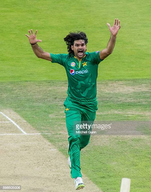 Mohammad Irfan makes an unsuccessful appeal for a wicket during the 4th Royal London One day International match between England and Pakistan at...