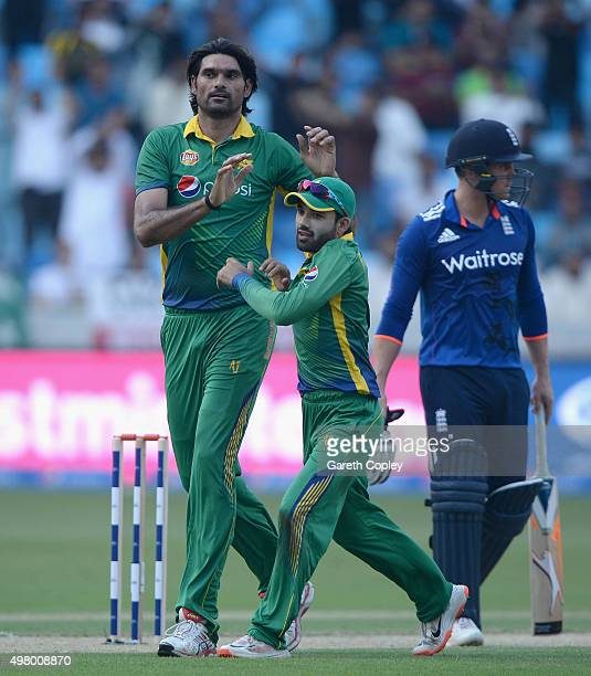Mohammad Irfan of Pakistan celebrates dismissing Alex Hales of England during the 4th One Day International between Pakistan and England at Dubai...
