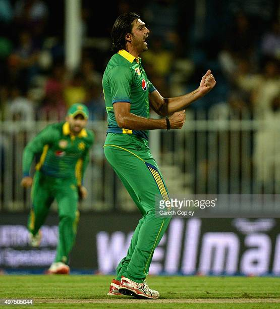 Mohammad Irfan of Pakistan celebrates dismissing Jason Roy of England during the 3rd One Day International match between Pakistan and England at...