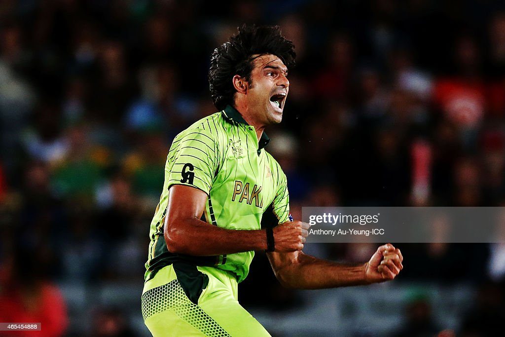 Mohammad Irfan of Pakistan celebrates his wicket of Dale Steyn of South Africa during the 2015 ICC Cricket World Cup match between South Africa and Pakistan at Eden Park on March 7, 2015 in Auckland, New Zealand.