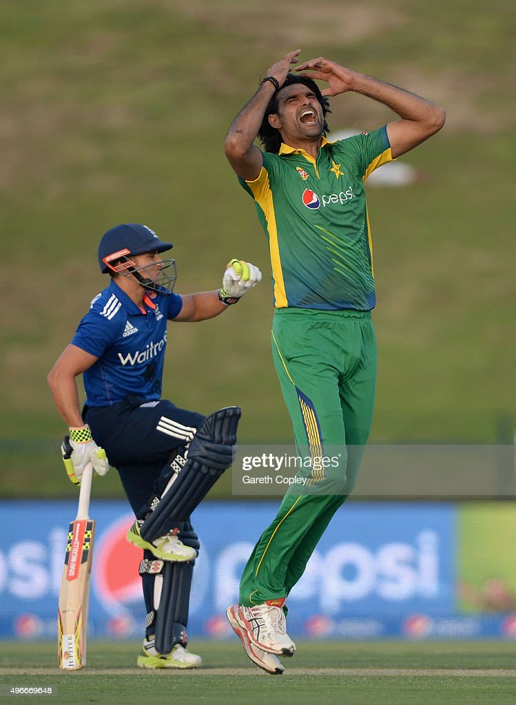 <a gi-track='captionPersonalityLinkClicked' href=/galleries/search?phrase=Mohammad+Irfan+-+Cricketspieler&family=editorial&specificpeople=10986295 ng-click='$event.stopPropagation()'>Mohammad Irfan</a> of Pakistan reacts after bowling alongside <a gi-track='captionPersonalityLinkClicked' href=/galleries/search?phrase=James+Taylor+-+Cricketprofi&family=editorial&specificpeople=7622826 ng-click='$event.stopPropagation()'>James Taylor</a> of England during the 1st One Day International between Pakistan and England at Zayed Cricket Stadium on November 11, 2015 in Abu Dhabi, United Arab Emirates.