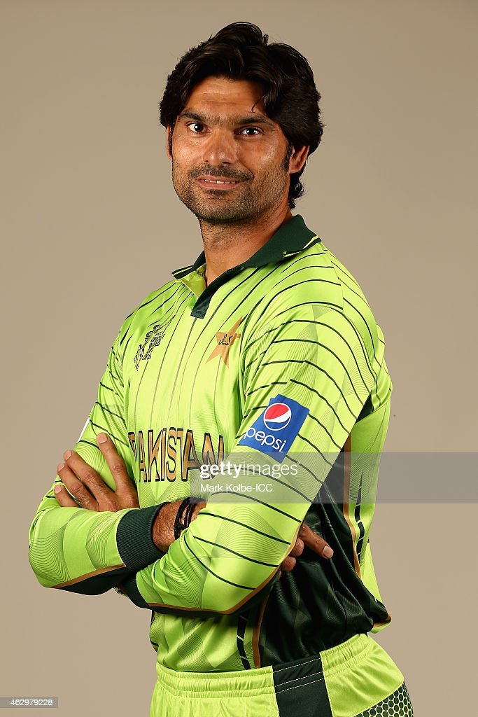 Mohammad Irfan poses during the Pakistan 2015 ICC Cricket World Cup Headshots Session at the Sheraton Hotel on February 8, 2015 in Sydney, Australia.