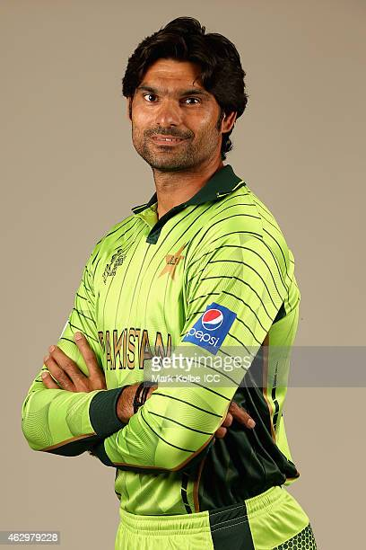 Mohammad Irfan poses during the Pakistan 2015 ICC Cricket World Cup Headshots Session at the Sheraton Hotel on February 8 2015 in Sydney Australia