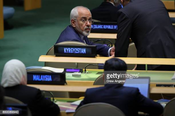 Mohammad Javad Zarif Khonsari the foreign minister of Iran attends the United Nations General Assembly at UN headquarters September 20 2017 in New...
