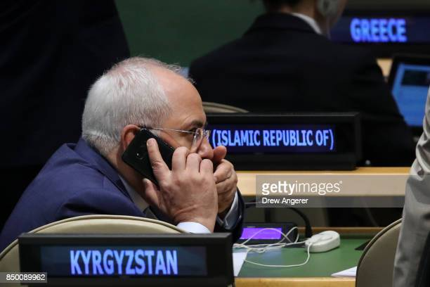 Mohammad Javad Zarif Khonsari the foreign minister of Iran talks on his cell phone as he attends the United Nations General Assembly at UN...