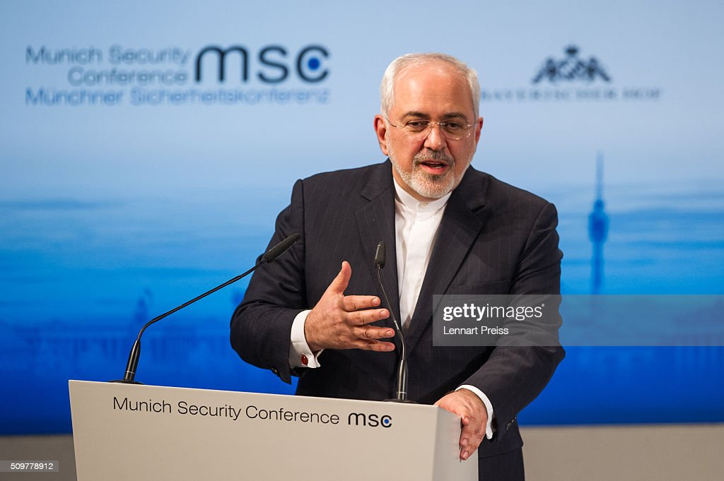 <a gi-track='captionPersonalityLinkClicked' href=/galleries/search?phrase=Mohammad+Javad+Zarif&family=editorial&specificpeople=645041 ng-click='$event.stopPropagation()'>Mohammad Javad Zarif</a>, Minister of Foreign Affairs of Iran, speaks at the 2016 Munich Security Conference at the Bayerischer Hof hotel on February 12, 2016 in Munich, Germany. The annual event brings together government representatives and security experts from across the globe and this year the conflict in Syria will be the main issue under discussion.