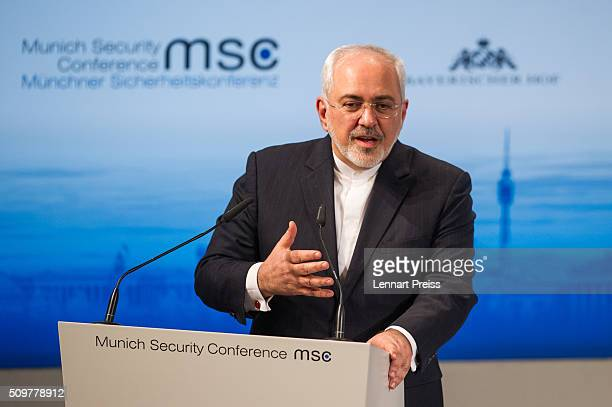Mohammad Javad Zarif Minister of Foreign Affairs of Iran speaks at the 2016 Munich Security Conference at the Bayerischer Hof hotel on February 12...