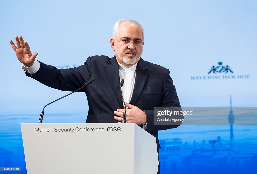 Mohammad Javad Zarif, Minister of Foreign Affairs of Iran, speaks at the 2016 Munich Security Conference at the Bayerischer Hof hotel on February 12, 2016 in Munich, Germany. The annual event brings together government representatives and security experts from across the globe and this year the conflict in Syria will be the main issue under discussion.