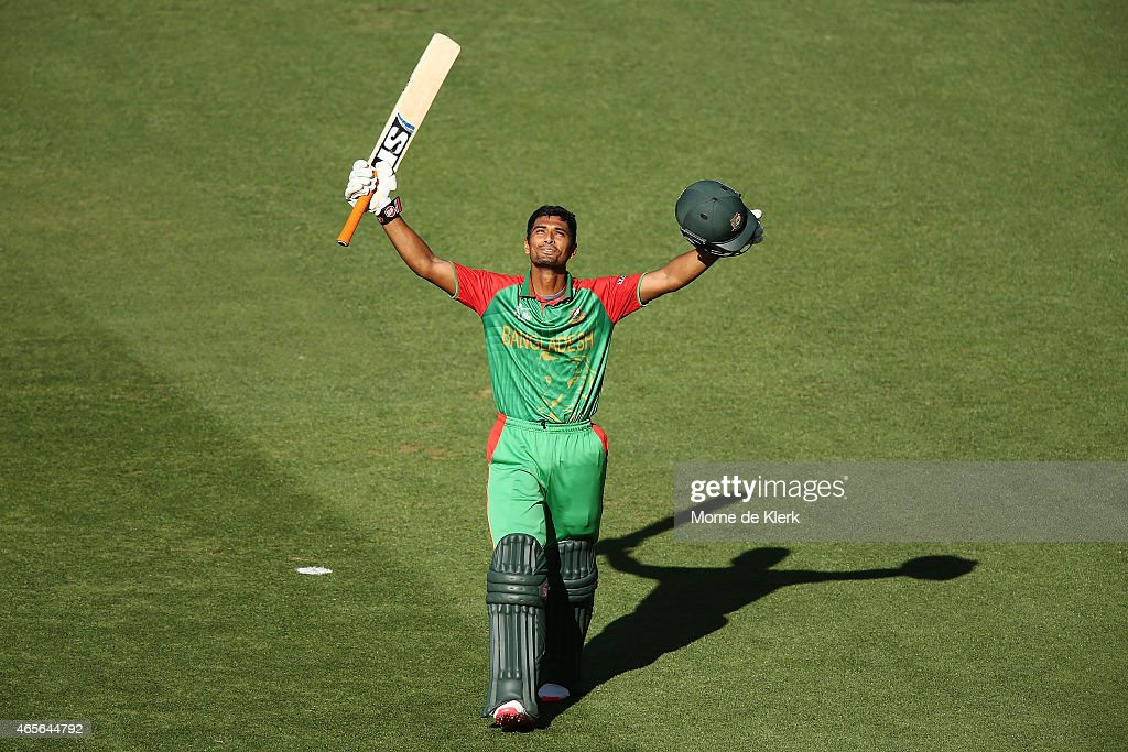 <a gi-track='captionPersonalityLinkClicked' href=/galleries/search?phrase=Mohammad+Mahmudullah&family=editorial&specificpeople=4506203 ng-click='$event.stopPropagation()'>Mohammad Mahmudullah</a> of Bangladesh celebrates after reaching 100 runs during the 2015 ICC Cricket World Cup match between England and Bangladesh at Adelaide Oval on March 9, 2015 in Adelaide, Australia.