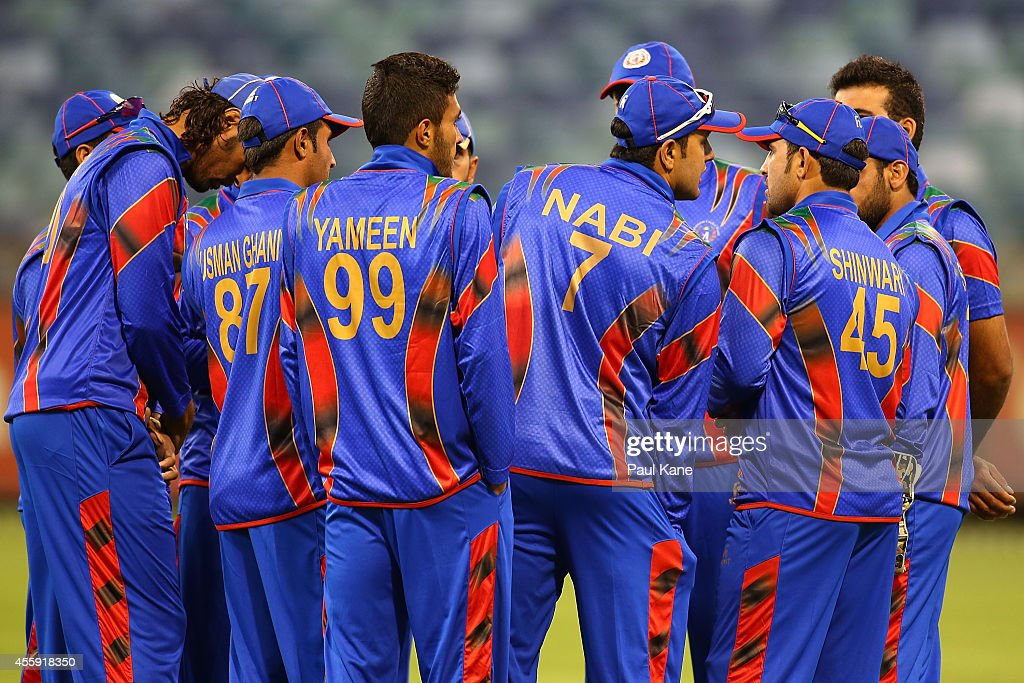 Mohammad Nabi of Afghanistan addresses his team before taking to the field during the One Day tour match between the Western Australia XI and...