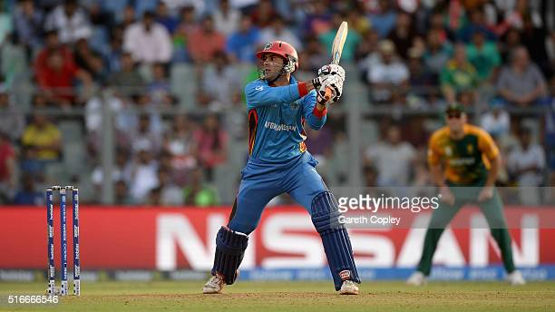 Mohammad Nabi of Afghanistan bats during the ICC World Twenty20 India 2016 Super 10s Group 1 match between South Africa and Afghanistan at Wankhede...
