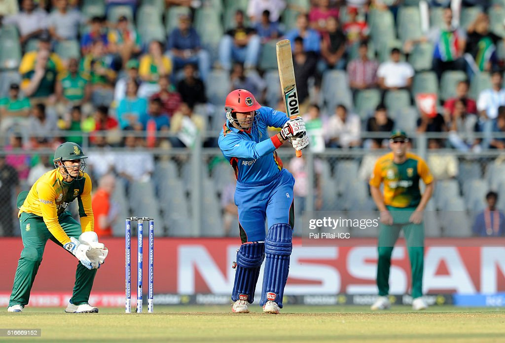 Mohammad Nabi of Afghanistan bats during the ICC World Twenty20 India 2016 match between South Africa and Afghanistan at the Wankhede stadium on March 20, 2016 in MUMBAI, INDia.