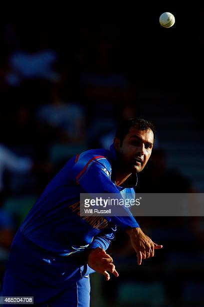 Mohammad Nabi of Afghanistan bowls during the 2015 ICC Cricket World Cup match between Australia and Afghanistan at WACA on March 4 2015 in Perth...