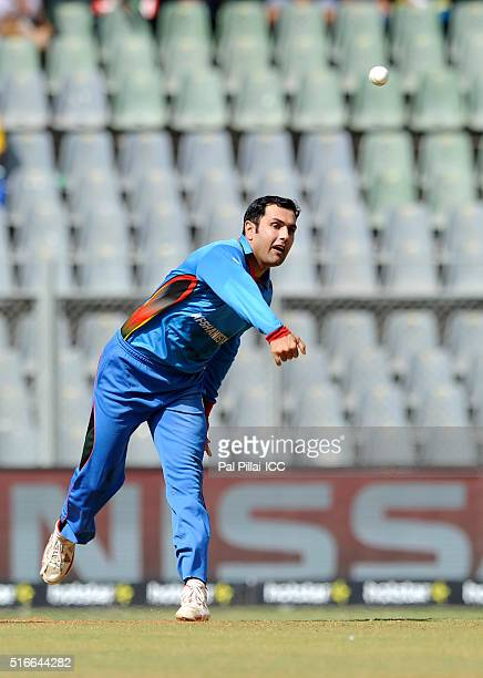 Mohammad Nabi of Afghanistan bowls during the ICC World Twenty20 India 2016 match between South Africa and Afghanistan at the Wankhede stadium on...