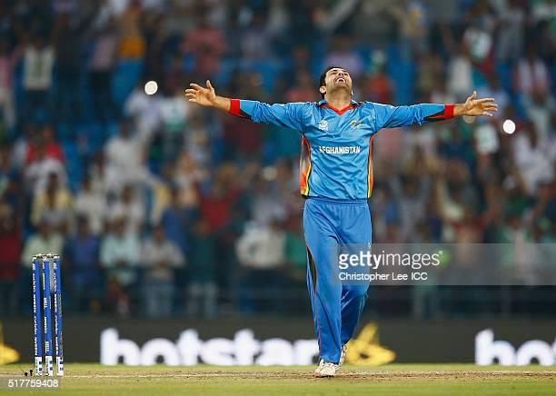 Mohammad Nabi of Afghanistan celebrates their victory during the ICC World Twenty20 India 2016 Group 1 match between Afghanistan and West Indies at...