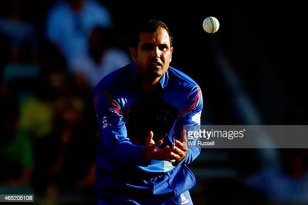 Mohammad Nabi of Afghanistan fields during the 2015 ICC Cricket World Cup match between Australia and Afghanistan at WACA on March 4 2015 in Perth...