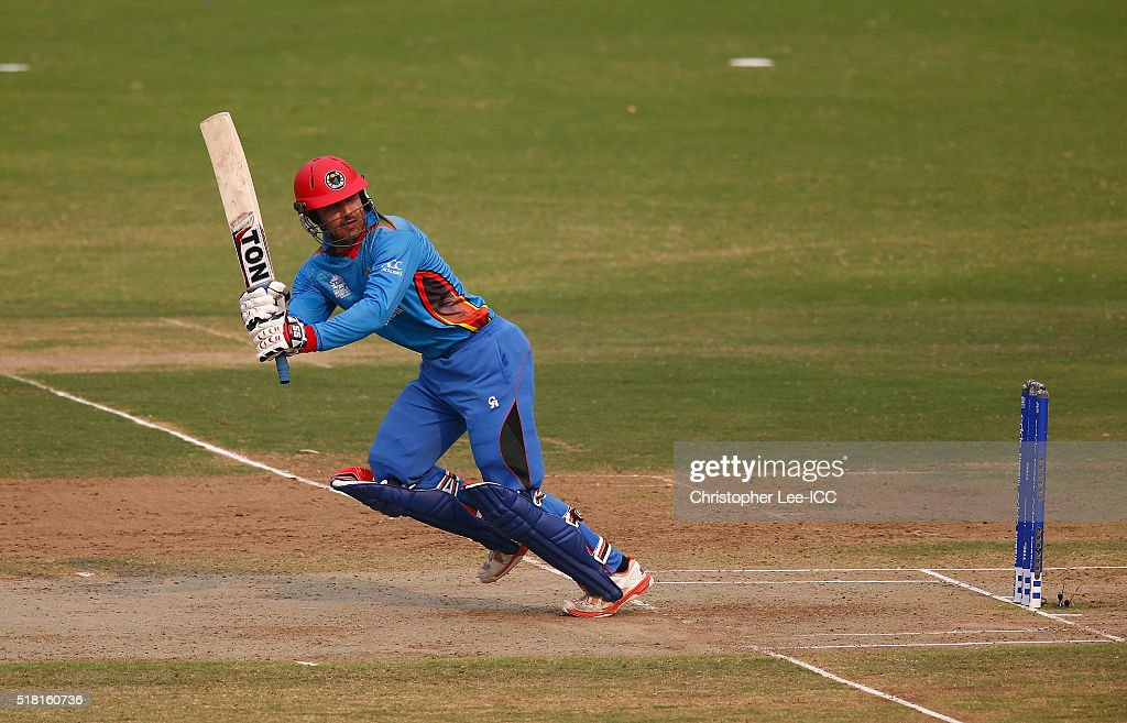 Mohammad Nabi of Afghanistan in action during the ICC World Twenty20 India 2016 Group 1 match between Afghanistan and West Indies at the Vidarbha Cricket Association Stadium on March 27, 2016 in Nagpur, India.