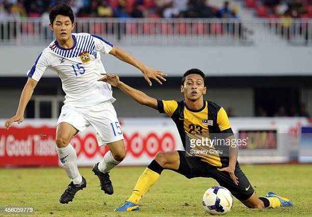 Mohammad Nasir of Malaysia battles with Phouttasay Khochalem of Laos during the Men's Football Competition during the 2013 SEA Games at the Zeyar...