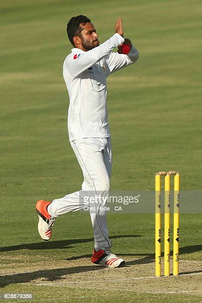 Mohammad Nawaz of Pakistan bowls during the tour match between Cricket Australia XI and Pakistan at Cazaly's Stadium on December 10 2016 in Cairns...