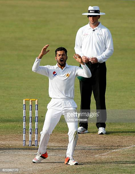 Mohammad Nawaz of Pakistan bowls on day four of the third test between Pakistan and West Indies at at Sharjah Cricket Stadium on November 2 2016 in...