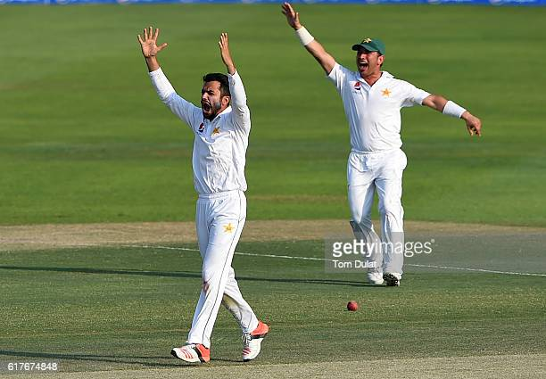 Mohammad Nawaz of Pakistan celebrates taking the wicket of Kraigg Brathwaite of West Indies during Day Four of the Second Test between Pakistan and...
