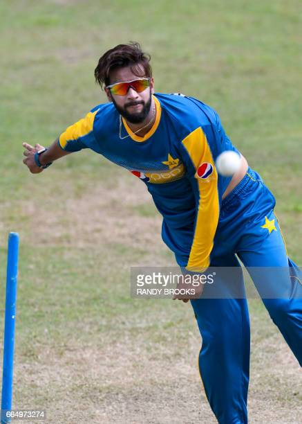 Mohammad Nawaz of Pakistan takes part in a training session at Guyana National Stadium in Providence on April 05 2017 in Guyana ahead of the West...