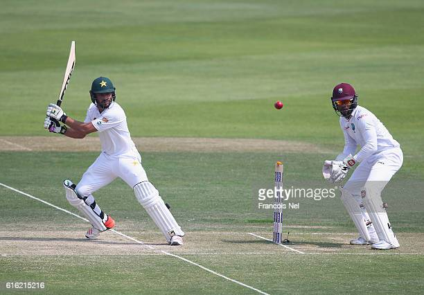 Mohammad Nawaz of Pakistanbats during Day Two of the Second Test between Pakistan and West Indies at Zayed Cricket Stadium on October 22 2016 in Abu...