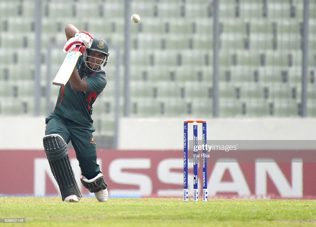 Mohammad Saifuddin of Bangladesh U19 bats during the ICC U 19 World Cup Semi-Final match between Bangladesh and West Indies on February 11, 2016 in Dhaka, Bangladesh.