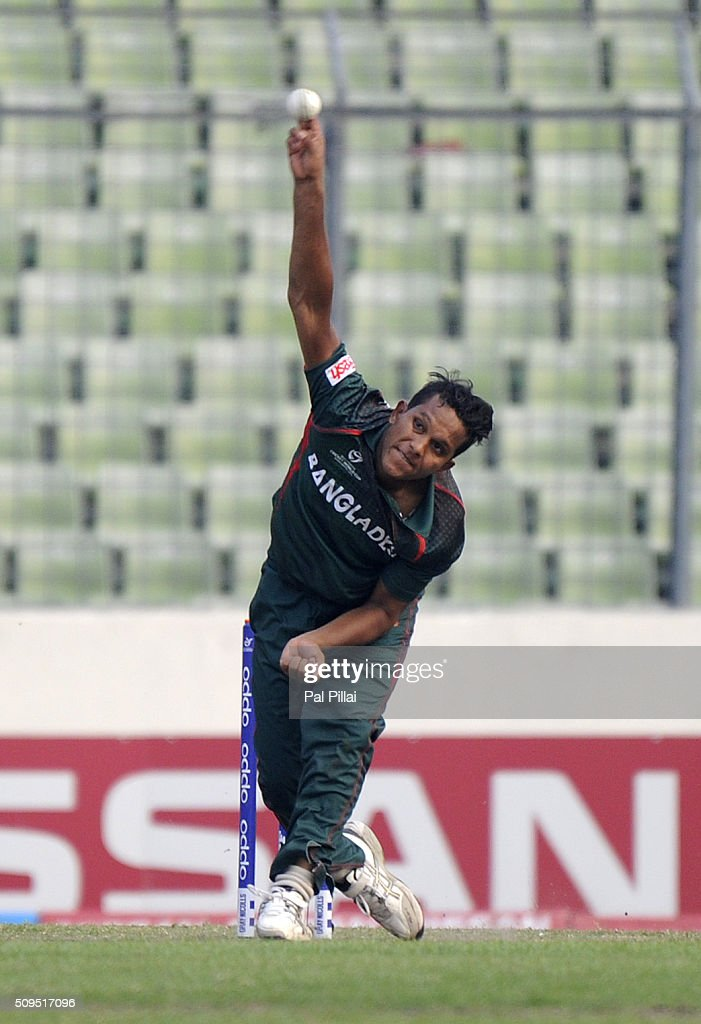 Mohammad Saifuddin of Bangladesh U19 bowls during the ICC U 19 World Cup Semi-Final match between Bangladesh and West Indies on February 11, 2016 in Dhaka, Bangladesh.
