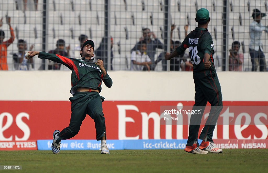 Mohammad Saifuddin of Bangladesh U19 celebrates after taking a catch to get the wicket of Shimron Hetmyer of West Indies U19 during the ICC U 19 World Cup Semi-Final match between Bangladesh and West Indies on February 11, 2016 in Dhaka, Bangladesh.