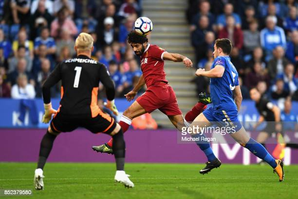 Mohammad Salah of Liverpool scores his sides first goal during the Premier League match between Leicester City and Liverpool at The King Power...