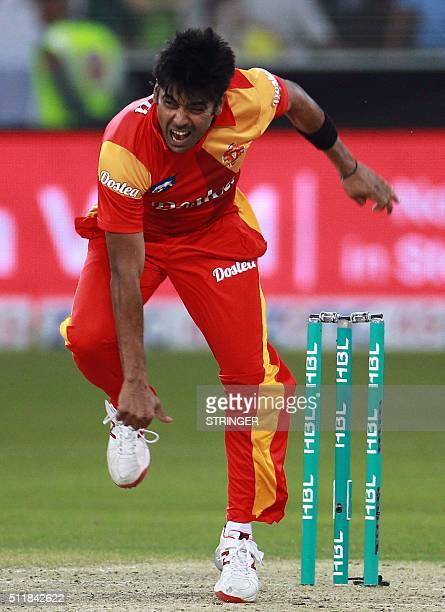 Mohammad Sami of Islamabad United bowls during the final of Pakistan Super League agains Quetta Gladiators at the Dubai cricket stadium on February...