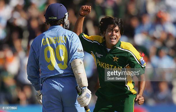 Mohammad Sami of Pakistan celebrates after dismissing Sourav Ganguly of India during the ICC Champions Trophy match between Pakistan and India on...