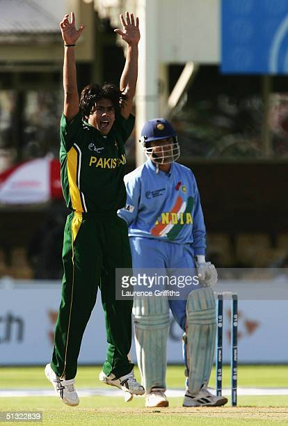 Mohammad Sami of Pakistan takes the wicket of Sourav Ganguly of India during The ICC Champions Trophy England 2004 match between Pakistan and India...