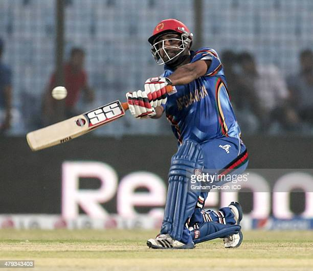 Mohammad Shahzad batting during Afghanistan v Hong Kong match at the ICC World Twenty20 Bangladesh 2014 played at Zahur Ahmed Chowdhury Stadium on...